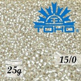 Toho Rokajl 15/0 Silver-Lined Frosted Crystal, 25g (č.21F)