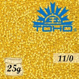 Toho Rokajl 11/0 - Inside-Color Crystal/Butter Lined č.961 25g