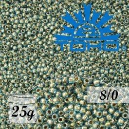 Toho Rokajl 8/0 Gold-Lined Aqua č.990 25g