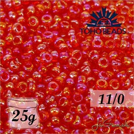 Toho Rokajl 11/0 - Transparent-Rainbow Siam Ruby č.165B 25g