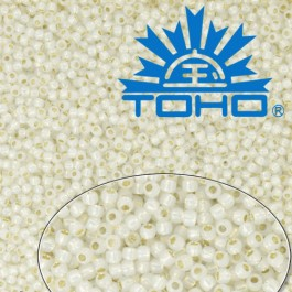 Toho Rokajl 11/0 -Golden-Lined Milky White č.2100 25g