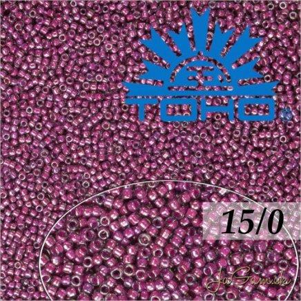 Toho Rokajl 15/0 Inside Color Grey/Magenta Lined 5g (č.1076)