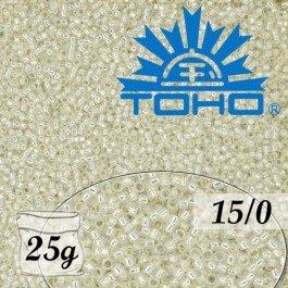 Toho Rokajl 15/0 Gold-Lined Milky White 25g (č.2100)