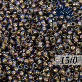 Toho Rokajl 15/0 - Gold-Lined Rainbow Black Diamond č.999 5g