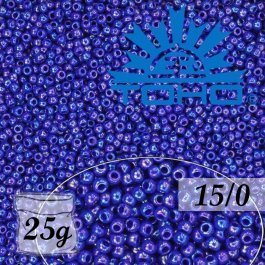 Toho Rokajl 15/0 Opaque-Rainbow Navy Blue, 25g (č.408)