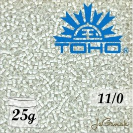 Toho Rokajl 11/0 Inside-Color Crystal/Snow Lined č.981 25g