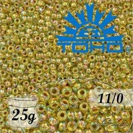 Toho Rokajl 11/0 - Gold-Lined Rainbow Lt Jonquil č.998 25g