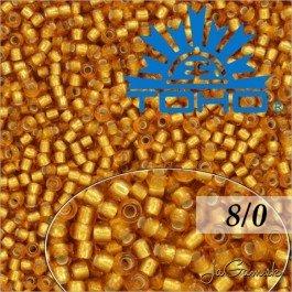 Toho Rokajl 8/0  Silver-Lined Frosted Dk Topaz č.22CF 10g