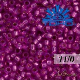 Toho Rokajl 11/0 - Silver-Lined Milky Hot Pink č.2107 8g