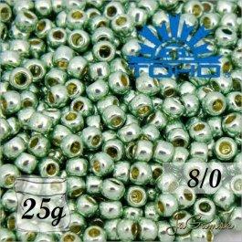Toho Rokajl 8/0 - PermaFinish - Galvanized Mint Green č.PF570 25g