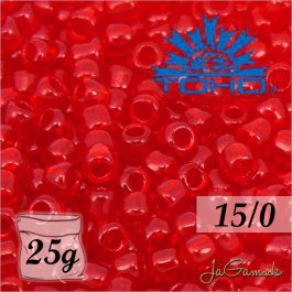 Toho Rokajl 15/0 -Transparent Ruby (č.5C) 25g