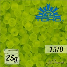 Toho Rokajl 15/0 -Transparent-Frosted Lime Green (č.4F) 25g