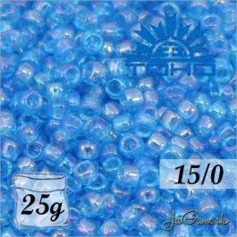 Toho Rokajl 15/0 -Transparent-Rainbow Dk Aqua (č.163B) 25g