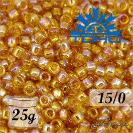 Toho Rokajl 15/0 -Transparent-Rainbow Med Topaz (č.162B) 25g
