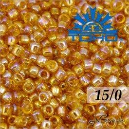Toho Rokajl 15/0 -Transparent-Rainbow Med Topaz (č.162B) 5g