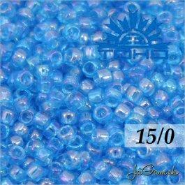 Toho Rokajl 15/0 -Transparent-Rainbow Dk Aqua (č.163B) 5g