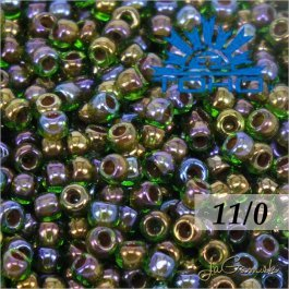 Toho Rokajl 11/0 - Inside-Color Peridot/Oxblood-Lined č.247 8g