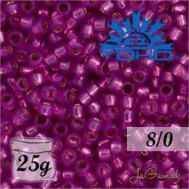 Toho Rokajl 8/0 - Silver-Lined Milky Hot Pink č.2107 25g
