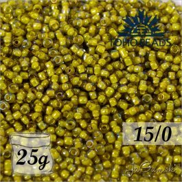 Toho Rokajl 15/0 - Inside-Color Luster Black Diamond/Opaque Yellow-Lined (č.246) 5g