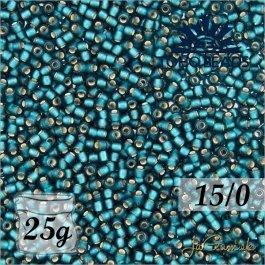 Toho Rokajl 15/0 - Silver-Lined Frosted Teal (č.27BDF) 5g