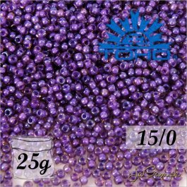 Toho Rokajl 15/0 - Inside-Color Rainbow Rosaline/Opaque Purple-Lined (č.928) 25g