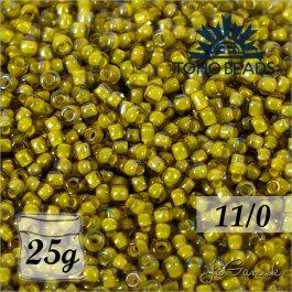 Toho Rokajl 11/0 - Inside-Color Luster Blaack Diamond/Opaque Yellow-Lined č.246 25g