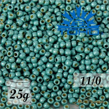 Toho Rokajl 11/0 Permanent Finish - Matte Galvanized Green Teal č.PF561F 25g
