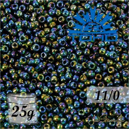 Toho Rokajl 11/0 Transparent Rainbow Green Emerald č.179 25g