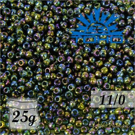 Toho Rokajl 11/0 Transparent Rainbow Olivine č.180 25g