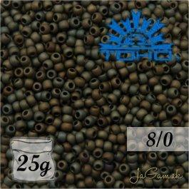 Toho Rokajl 8/0 - Frosted Metallic Iris Brown č.83F 8g