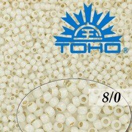 Toho Rokajl 8/0 Silver-Lined Milky White č.2100 10g