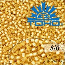 Toho Rokajl 8/0 Silver-Lined Frosted Lt Topaz č.22F 10g