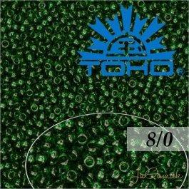 Toho Rokajl 8/0Transparent Green Emerald  č.939 10g