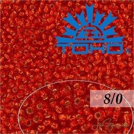 Toho Rokajl 8/0 Silver-Lined Siam Ruby č.25B 10g