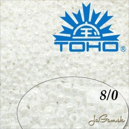 Toho Rokajl 8/0  Opaque-Lustered White č.121 10g