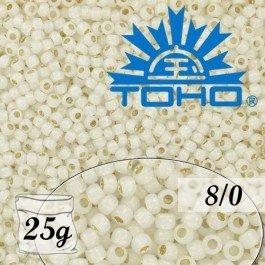 Toho Rokajl 8/0 Silver-Lined Milky White č.2100 25g