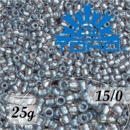 Toho Rokajl 15/0 Inside-Color Crystal/Metallic Blue Lined, 25g (č.288)