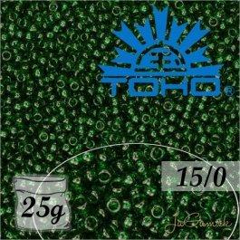 Toho Rokajl 15/0 Transparent Green Emerald Frosted, 25g (č.939F)