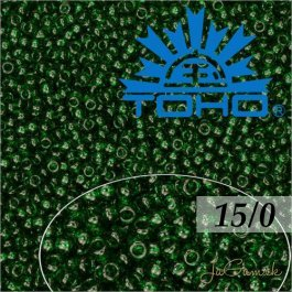 Toho Rokajl 15/0 -Transparent-Frosted Green Emerald č.939F 5g