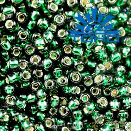 Toho Rokajl 15/0 Silver-Lined Green Emerald 25g (č.36)
