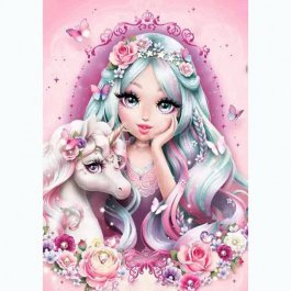 Diamantové maľovanie - Dievča s jednorožcom 30x40 cm (ml018)